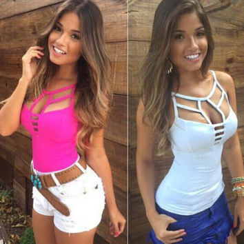 Sexy Women's Summer Vest Top Sleeveless Blouse Casual Tops T Shirt Size S-L