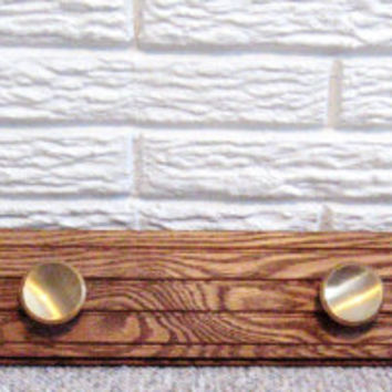 Wood Coat Rack * Reclaimed Wood * Vintage Brass Knobs