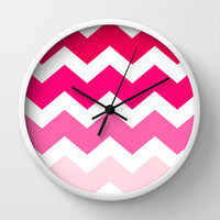 Ombre Chevron- Powder Room Wall Clock by Rebecca Allen