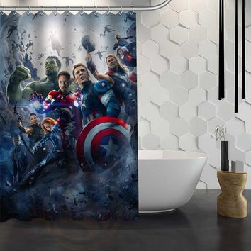 Custom Avengers Marvel Hero Shower Curtain With Hooks Fabric Bathroom Curtain Eco-Friendly Waterproof Bath Curtain Gift