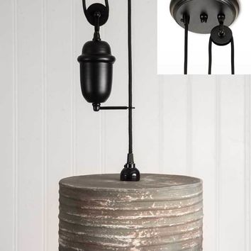 Round Pulldown Pendant Lamp - Textured Grey