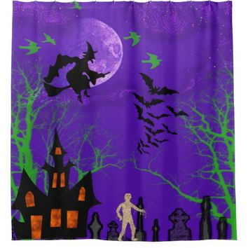 Spooky Halloween, Witch, Bats, Mummy, Graveyard Shower Curtain