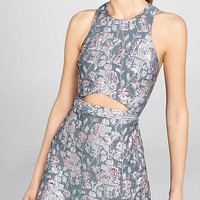 Pink Floral Brocade Cutout Tank Mini Dress from EXPRESS