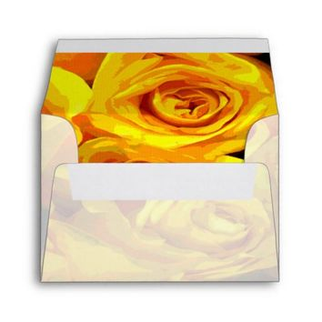 Misty Golden Yellow Roses Envelope