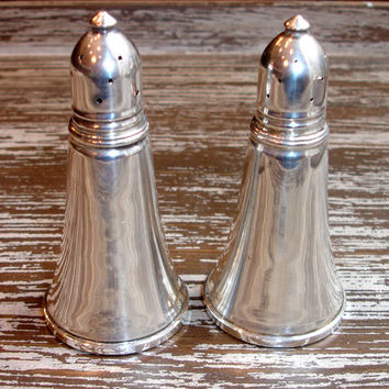 Vintage Weighted Sterling Silver Salt and Pepper Shakers, Mid Century Housewares, Kitchen, Glass Lined, by Garden Silversmiths