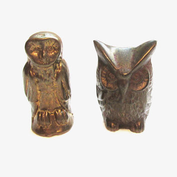 Miniature Vintage Brass Figurine Owl / Bird Figurines