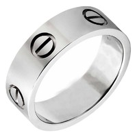 OMFEE Stainless Steel Designer Screw Head Love Wedding Ring Silver Finish,Sizes 5 - 10 (7)
