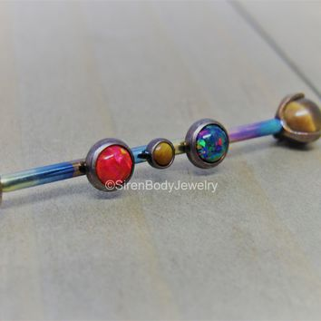 Titanium industrial piercing barbell 14g anodized rainbow black red opal tigers eye 1 1/4 1 1/2 custom made