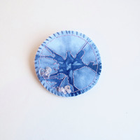 Indigo Shibori brooch with hand embroidery and rose quartz beads wool and cotton felt backing Textile jewelry An Astrid Endeavor