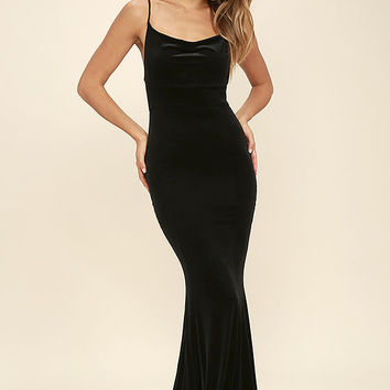 Sorceress Black Velvet Maxi Dress