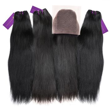 3 x Relaxed Straight Steam Permed Weave Bundle Deal + Closure