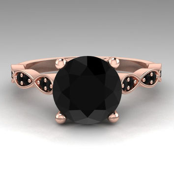 Black Diamond Ring / Rose Gold Bridal Jewelry / Round 2. Carat Natural Black Diamond Engagement Ring / 14K Rose Gold / RE00202R