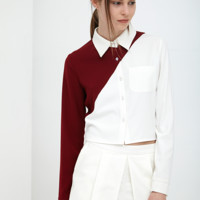 Oxblood & White Contrast Crop Boxy Shirt | Top