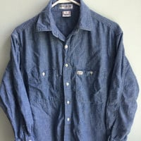 georges marciano for guess denim chambray work shirt // chambray button down //