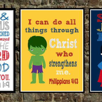 Set of 3 - Superhero Bible Verse Wall Art - Captain America, The Hulk, Superman - Scripture Nursery Decor