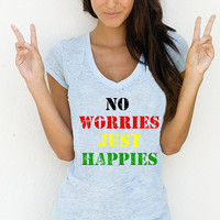 OOTD Outfit of the Day Trendy No Worries Just Happies T-Shirt, Clever Women's Graphic T-Shirt, Women's Gift, American Apparel, Best T-Shirts
