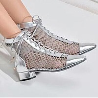 DIOR 2018 Summer New Sexy Mesh Short Coarse with Roman Sandals F-OMDP-GD silver