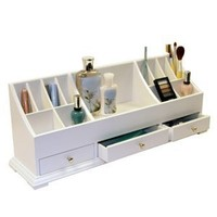 "Large Personal Organizer with Drawers (White) (9""H x 24""W x 6""D)"