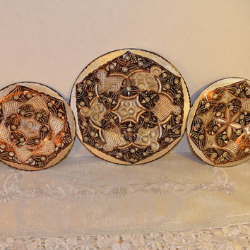 Turkish Plate Set Vintage Hand Engraved Copper & Metal Wall Plates Set of 3 Istanbul Turkey Wall hanging Wall Decor Farmhouse Rustic Decor