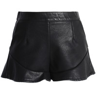 Faux Leather Shorts with Peplum Trim Black