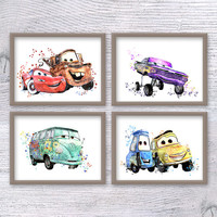 Disney Cars watercolor Set of 4 Cars Disney poster Lightning McQueen print Kids room wall art Disney wall decor Wall hanging decoration V461