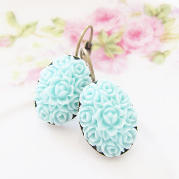 Aqua Carved Flower - Pastel Aqua Blue Carved Flower Bohemian Antique Brass Earring Drop Dangles - Wedding, Bridal, Bridesmaid