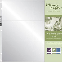 We R Memory Keepers 12 x 12 inch (6- 4 x 6-Inch pockets) 3-Ring Album Photo Sleeve Protectors, 10 PK