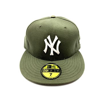 New Era 59FIFTY New York Yankee Olive Green WIth White Fittted Hat