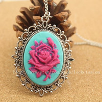 Pink rose resin pendant necklace  steampunk antique jewelry