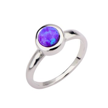 Stainless Steel & Synthetic Purple Opal Ring