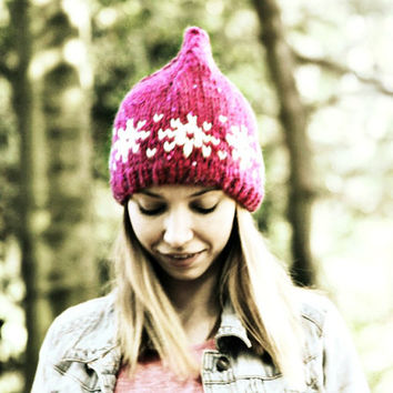 Red Beanie Hat - Scandinavian Winter Hat -Pointed Beanie - Sequinned Hand Knitted Hat - Women's Hat  - Teen Girl Hat