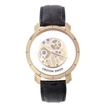 Croton Mens Stainless steel Goldtone See Thru Dial Watch