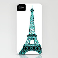 Damask Eiffel Tower - iPhone Case - (3GS, 3G, 4S, 4, 5) black and blue color unique robust Valentines Gift paris  love, iPhone 5