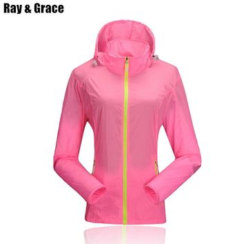 RAY GRACE Spring Outdoor Women Waterproof Windproof Breathable Skin Jacket Quick Dry Wind Coat UV Protection Running Jacket