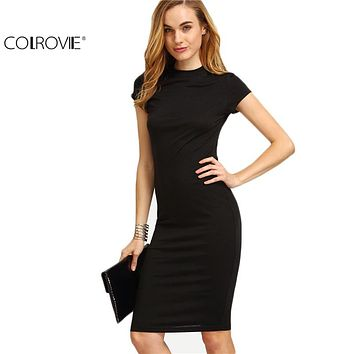 Women's Work Wear Sheath Sexy Solid Black Cap Sleeve Bodycon Dress