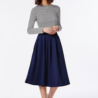 Missguided - Auberta Pleated Midi Skirt Navy