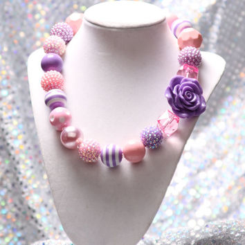 Lavender Rose Necklace, Chunky Beaded Necklace, Spring Chunky Necklace,Easter Necklace, Chunky Bead Necklace, Girls Necklace Pink & Purple