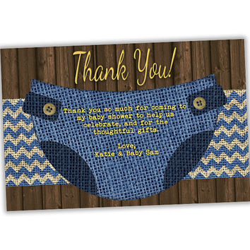 Burlap DIaper Baby Shower Thank You Cards - Blue Diaper Thank You Card - Rustic Country Thank You Tags - Party Favor Tags - Boy Baby Shower