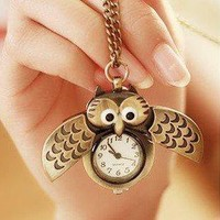 Retro Bronze Owl Pocket Necklace Watch by forevervintage on Zibbet
