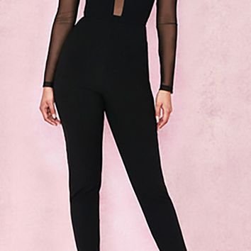 Cat Woman Black Sheer Mesh Long Sleeve Mock Neck Skinny Bandage Bodycon Jumpsuit