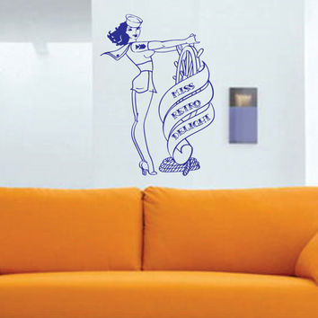 Sailorette Pin Up Girl Wall Vinyl Decal Sticker art by DabbleDown