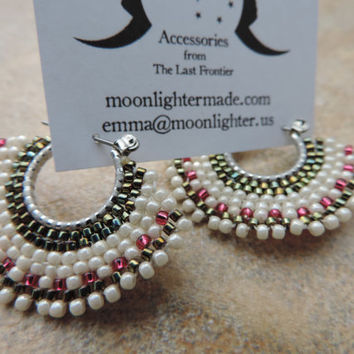 Brick Stitch Hoop Earrings in Ivory, Green and Magenta