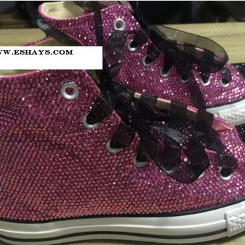 Purple Black Sparkly High Top Converse with Ribbon Laces