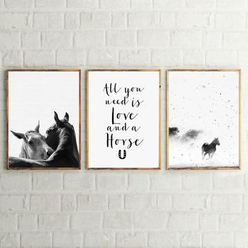 Horse Art Decor Canvas Prints and Poster,  Black and White Animal Horse Nordic Canvas Printing Home Modern Wall Art Decoration