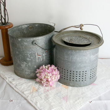 Vintage Minnow Bucket galvanized metal for the garden planter gray grey fishing cottage decor