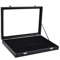 KLOUD City ® Black Glass Top Jewelry Display Case Ring Tray Box Organizer Holder