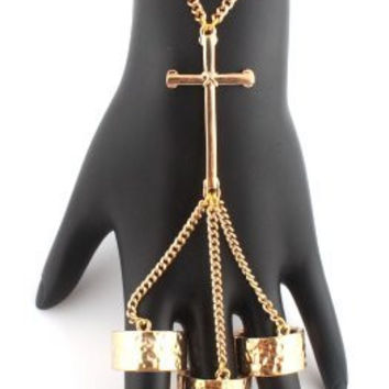Goldtone Cross with Three Adjustable Finger Ring Hand Chain Bracelet