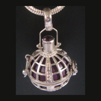 Harmony Ball, Amethyst Gem, Purple Chime Ball: 925 Sterling Silver Harmony Ball | Bola Necklace, Pregnancy Gift, Angel Caller 331 + Chain