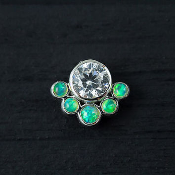 Lime green opal and CZ diamond cluster push in 16g bio flexible tragus / cartilage / conch ear piercing