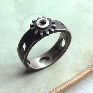 Screw Cap Ring - Size 9 - Black - Sterling Silver - Oxidized - Rustic - Tiny Gear - Industrial Chic - Urban - Nuts and Bolts Jewelry